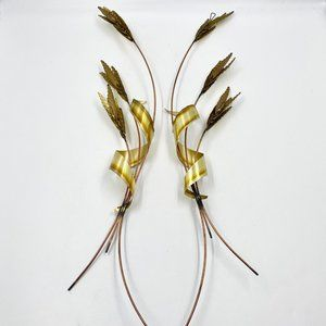 """2 VINTAGE HOME INTERIORS BRASS COPPER METAL WHEAT SHEAF WALL DECOR HOMCO 31"""""""
